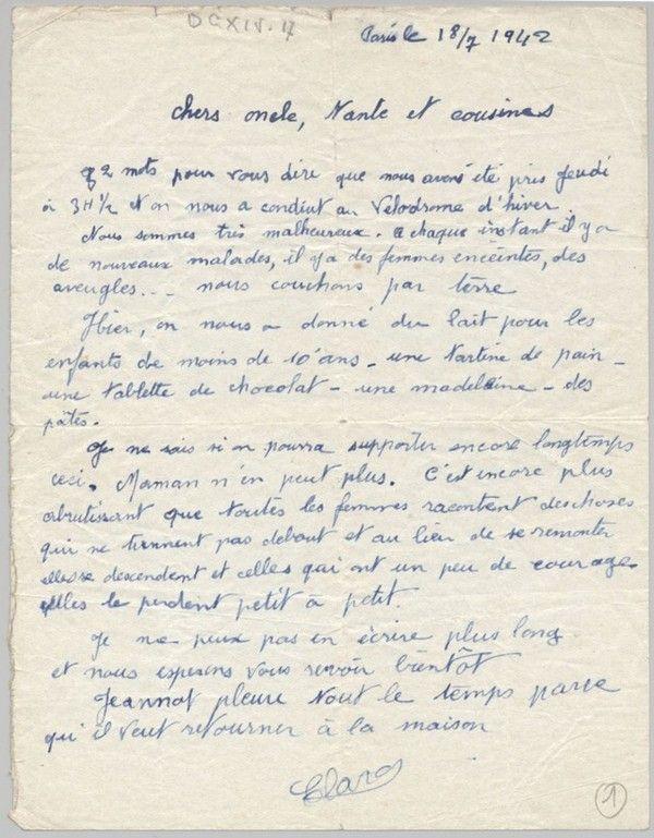 Lettre écrite pendant La Rafle du Vel 'd'Hiv