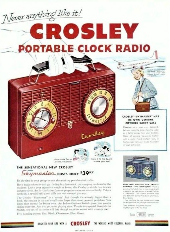 Radio portable Crosley, 1953.